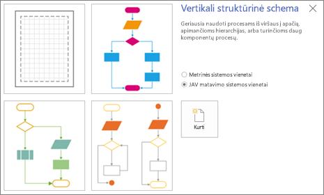 Ekrano nuotrauka, vaizduojanti ekraną Vertikalioji struktūrinė schema, rodantį šablonų ir matavimo vienetų parinktis.