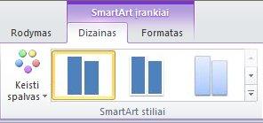 """Skirtuko Dizainas grupė """"SmartArt"""" stiliai dalyje """"SmartArt"""" įrankiai"""