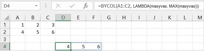 Pirmasis funkcijos BYCOL pavyzdys