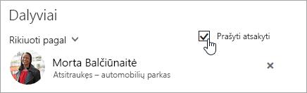 """Internetinės """"Outlook"""" mygtuko Prašyti atsakyti ekrano nuotrauka"""