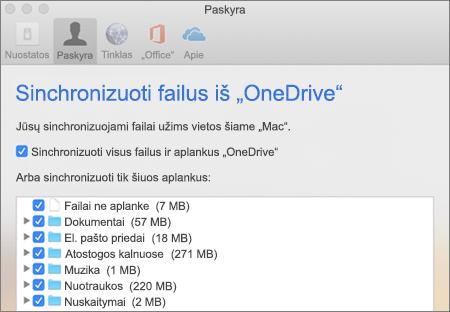 "Dialogo langas Sinchronizuoti aplankus ""OneDrive for Mac"""