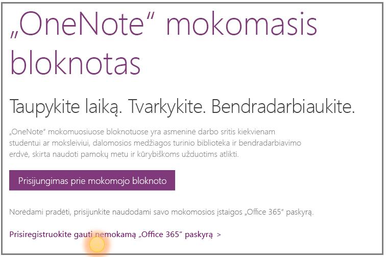 """Ekrano nuotrauka, kaip gauti nemokamą  """"Office 365"""" paskyrą."""