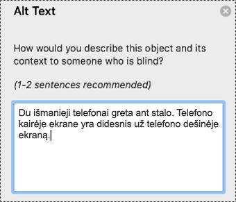 """Alternatyvusis tekstas programoje """"Outlook"""", skirtoje """"Mac""""."""