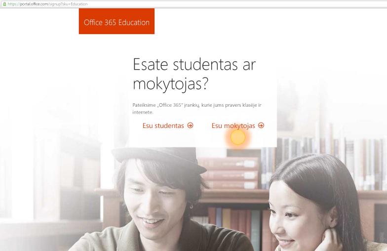 Mokytojo arba studento prisijungimo parinkčių ekrano nuotrauka
