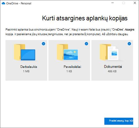 """""""OneDrive"""" dialogo lango svarbių aplankų apsaugos nustatymas ekrano nuotrauka"""