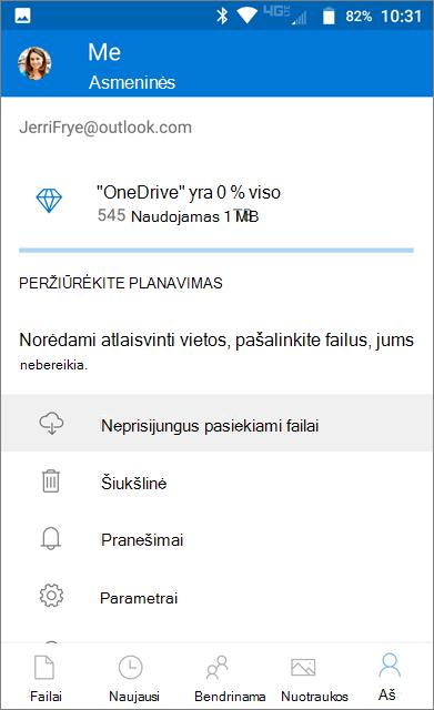 """OneDrive"" autonominis aplankas"