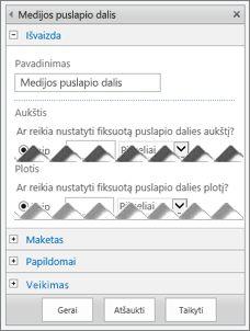 Medijos puslapio dalies redagavimo skydo, kuriame rodomos kelios galimos konfigūruoti ypatybės, ekrano kopija