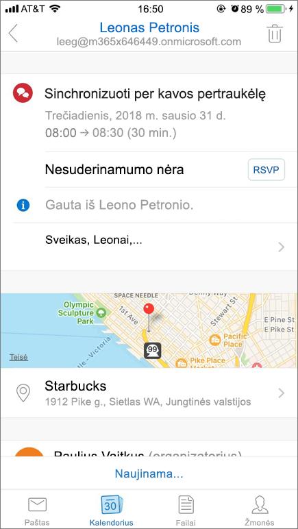 Ekrano kopijoje parodyta mobiliojo įrenginio ekranas su kalendoriaus kvietimą elementą.