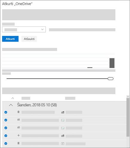 """Ekrano kopija, kurioje rodomas veiklos diagramos ir veiklos informacijos santraukos naudojimas norint pasirinkti veiklą dalyje """"OneDrive"""" atkūrimas"""