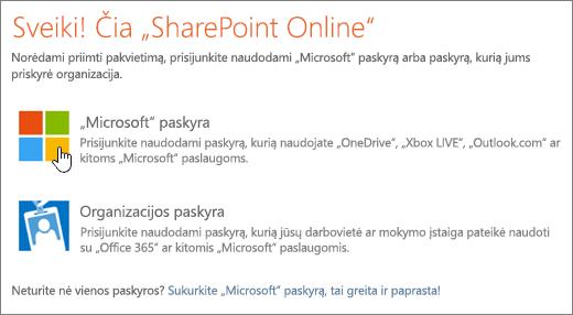 Ekrano nuotrauka, rodanti SharePoint Online prisijungimo ekranas.