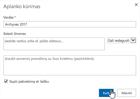 SharePoint Online Klasikinis režimas bendrinimo dialogo langas