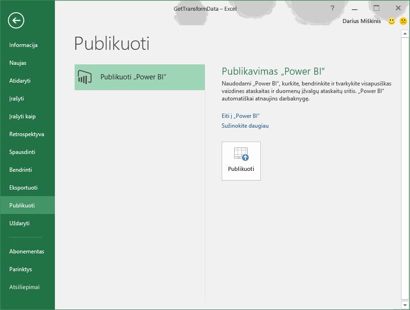 """Publikavimas """"Power BI"""""""