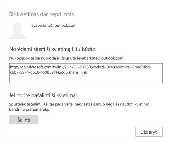 Laukiančio kvietimo dialogo lango su saitu siųsti el. paštu ir mygtuku pašalinti kvietimą ekrano nuotrauka.