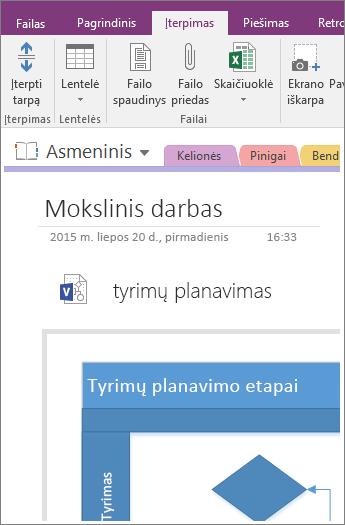 """Ekrano kopija, kurioje rodoma, kaip programoje """"OneNote 2016"""" įtraukti turimą """"Visio"""" diagramą."""
