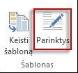 """Mygtukas Šablono parinktys programoje """"Publisher 2013"""""""