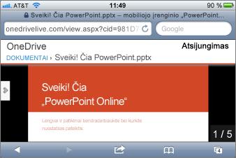 """Mobiliojo įrenginio """"PowerPoint"""" peržiūros programos skaidrių demonstracija"""
