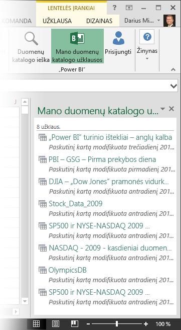 Sritis Mano duomenų katalogo užklausos