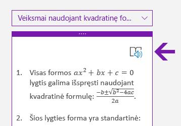 """Įtraukiančio skaitytuvo piktograma """"OneNote"""", skirtos """"Windows 10"""", matematikos srityje"""