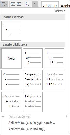 Pasirinkite mygtuką kelių lygių sąrašas, Norėdami įtraukti numeravimą į įtaisytąjį antraštės stilių, pvz., 1 antraštė, dokumento antraštę.