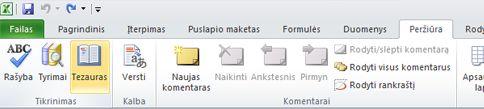 """""""Excel"""" juostelės skirtuko Peržiūra parinktis Tezauras"""