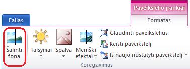 """Mygtukas Šalinti foną, esantis """"Office 2010"""" juostelės skirtuko Formatuoti dalyje Paveikslėlio įrankiai"""
