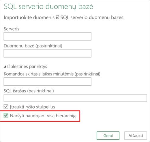 """Patobulintos """"Excel Power BI"""" sąryšinės duomenų bazės jungtys"""