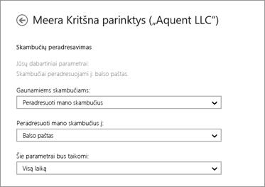 Gaunamų skambučių peradresavimo parinkčių (su persiuntimo į balso paštą ir taikymo visą laiką parinktimis) ekrano kopija