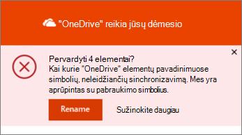 """""""OneDrive"""" darbalaukio sinchronizavimo programos pervardijimo pranešimo ekrano nuotrauka"""