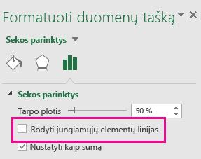 """Užduočių sritis Duomenų atskaitos taškų formatavimas su nepažymėta parinktimi Rodyti jungiančias linijas """"Office 2016"""""""