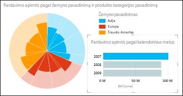 """""""Power View"""" skritulinė diagrama, vaizduojanti pardavimą pagal kontinentą pasirinkus 2007 m. duomenis"""