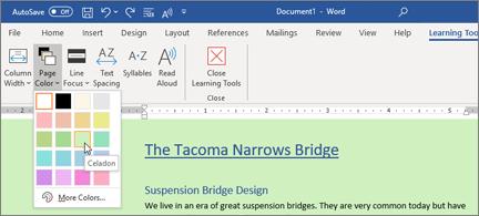 """""""Word doc"""" su žaliu fonu ir puslapio spalvų parinkiklio atidarymas"""