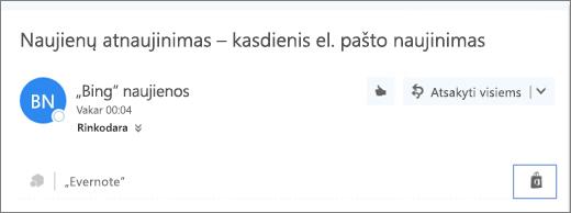 """Viršutinės el. laiško dalies ištraukos su paryškinta parduotuvės piktograma ekrano kopija. Spustelėjus piktogramą, atidaromas langas """"Outlook"""" skirti papildiniai, kuriame galite naršyti ir įdiegti papildinius."""