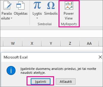 """Mygtukas Pasirinktinis """"Pivot"""" rodinys ir papildinio įjungimo programoje """"Excel"""" dialogo langas"""