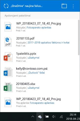 """""""OneDrive"""" apdorojimo pakeitimus ekranas"""