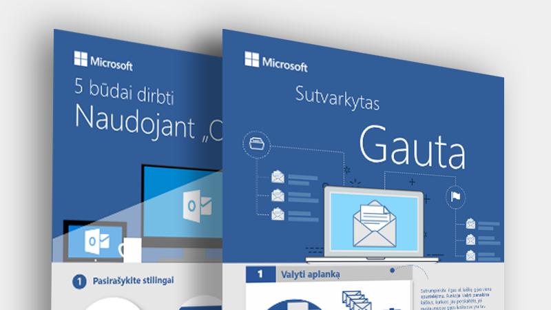 """Atsisiųskite šias """"Outlook"""" informacines diagramas"""