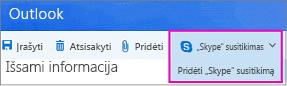 """Nauja """"Skype"""" susitikimo parinktis programoje """"Outlook"""" žiniatinklyje"""