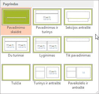 """""""PowerPoint"""" skaidrių maketai"""