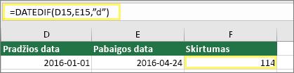 """Langelis D15 su 1/1/2016, langelis E15 su 4/24/2016, langelis F15 su formule: =DATEDIF(D15,E15,""""d""""), o rezultatas 114"""