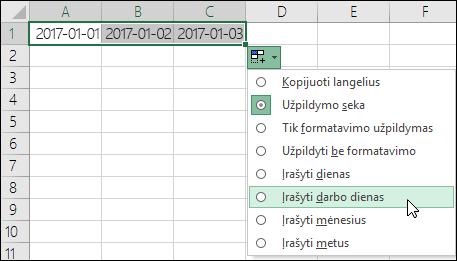 Naudokite užpildymo rankenėlę, kad sukurtumėte nuoseklių datų sąrašą