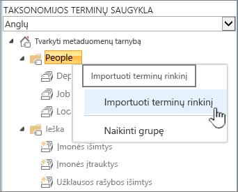 Importuoti terminų rinkinį išplečiamasis sąrašas