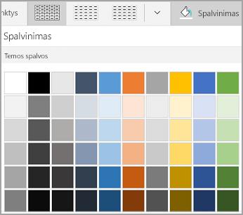 """""""Windows Mobile"""" lentelės spalvinimas"""