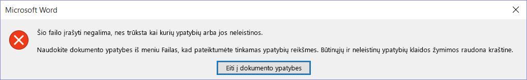 Dialogo langas, nurodantis, kad failo įrašyti negalima.