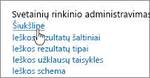 Parametrai dalyje svetainių rinkinio administravimo antraštė su paryškinta šiukšline