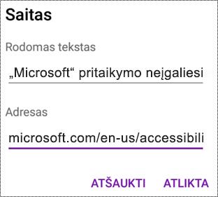 """Hipersaito dialogo lango įtraukimas programoje """"OneNote"""", skirtoje """"Android"""""""