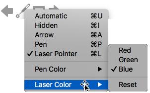 Lazerinio žymiklio spalvai galite pasirinkti raudoną, žalią arba mėlyną