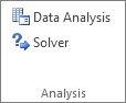 Duomenų analizės mygtukas grupėje Duomenų analizė