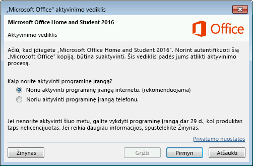 """Rodomas """"Microsoft Office"""" aktyvinimo vediklis."""