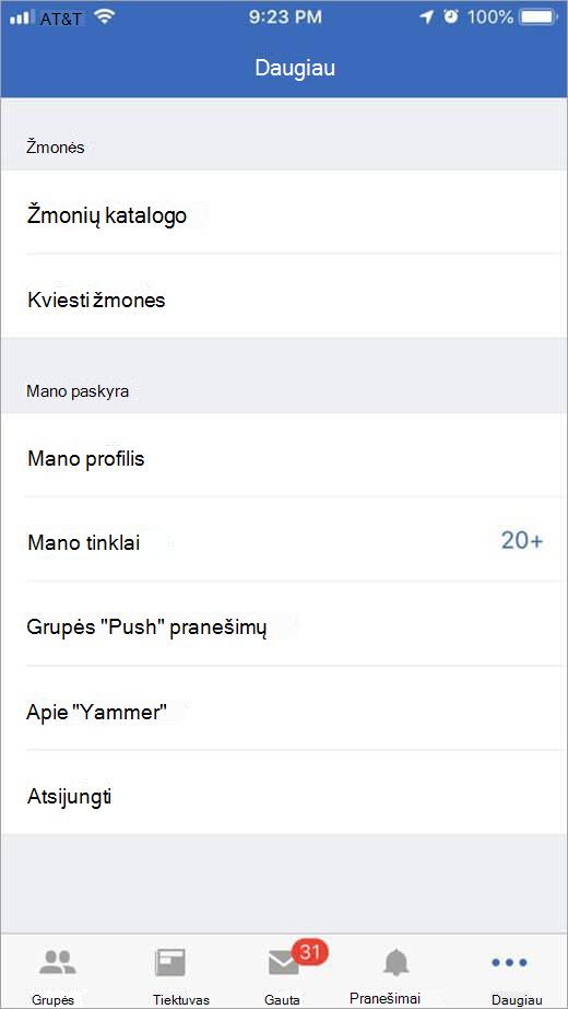 """""""iOS"""" """"Yammer"""" puslapį, kuriame išvardyti daugiau parinkčių"""