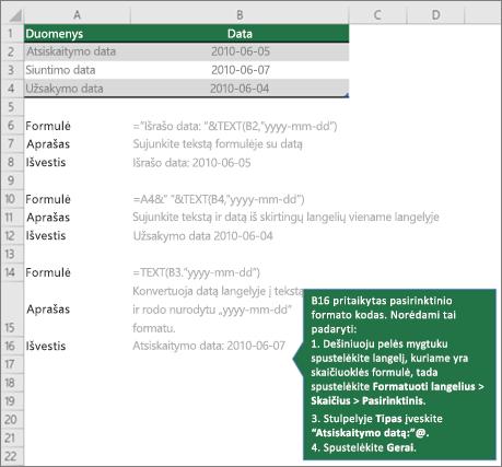 Pavyzdžiai, kaip galima sujungti teksto formulių su datos ir laiko reikšmes