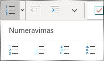 """Pagrindinio meniu juostelės sunumeruotų sąrašų mygtukai programoje """"OneNote"""", skirtoje """"Windows 10""""."""